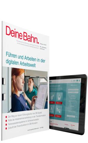 Cover der Zeitschrift Deine Bahn und Website SYSTEM||BAHN auf einem Tablet