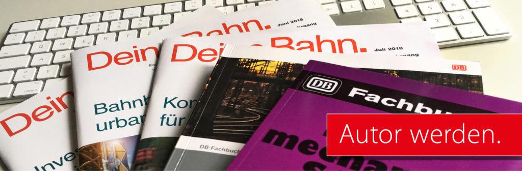 Autor werden_Deine Bahn Heft und DB Fachbücher auf einer PC Tastatur